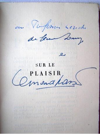 Bernard Grasset - Sur le plaisir. Essai précédé d'une lettre à Léon Bérard