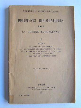 Collectif - Documents diplomatiques. 1914. La guerre européenne.