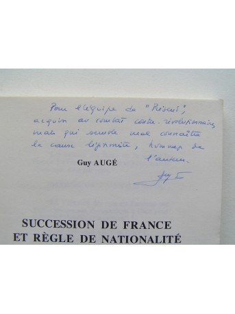 Guy Augé - Succession de France et règle de nationalité