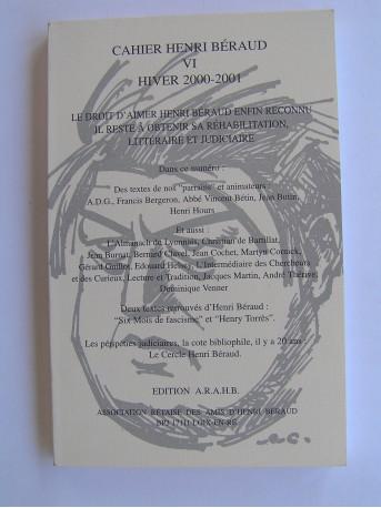 Collectif - Cahier Henri Béraud. N°VI. Hiver 2000-2001