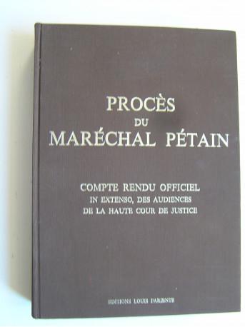 Collectif - Procès du Maréchal Pétain.