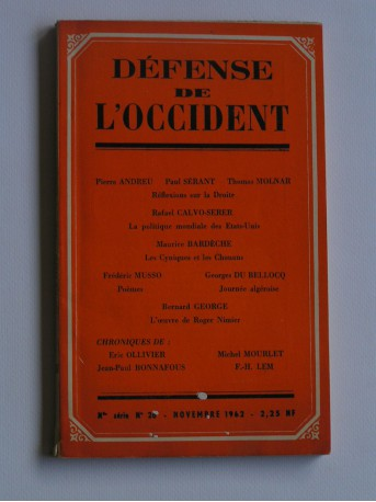 Collectif - défense de l'occident. Nouvelle série n°26. Novembre 1962