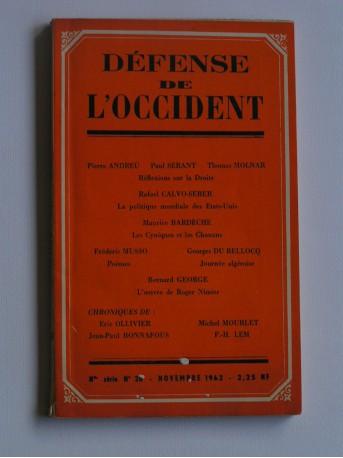 Collectif - défense de l'occident. Nouvelle série n°26. Novembre 1962